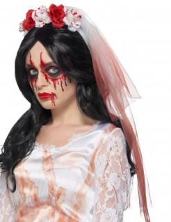 Zombieschleier Hochzeit Kopfschmuck weiss-rot