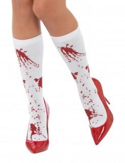 Blutige Socken für Erwachsene weiss-rot