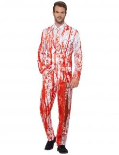 Blutiger Herrenanzug für Halloween weiss-rot
