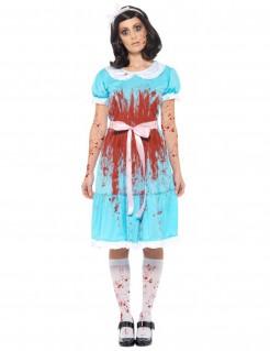 Zombie-Prinzessin Damenkostüm für Halloween blau-weiss