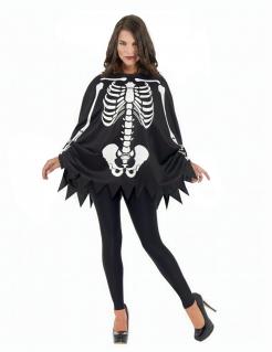 Skelett-Kostüm Poncho und Handschuhe für Damen schwarz-weiss