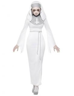 Horror-Nonne Halloween-Kostüm für Damen weiss-grau