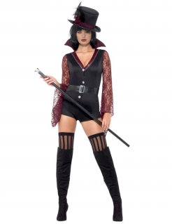 Vampir-Dompteuse Damenkostüm für Halloween schwarz-rot