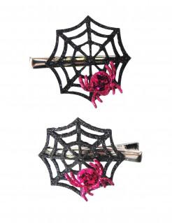 Glitzernde Spinnennetz-Haarspange 2 Stück schwarz-pink