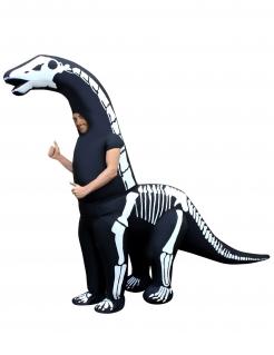 Skelett-Dinokostüm aufblasbar Morphsuits™ Halloween-Kostüm schwarz-weiss