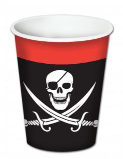 Piraten-Trinkbecher mit Totenkopf 8 Stück schwarz-weiss-rot 260ml
