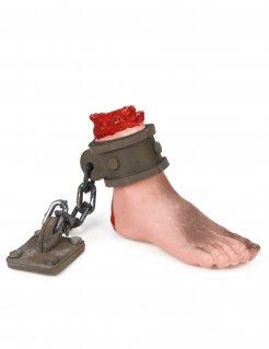 Abgehackter Fuß mit Eisenkette Halloween Dekoration grau-beige-rot 15x7,5 cm