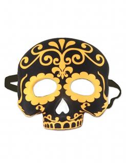 Dia De Los Muertos Totenkopf-Halbmaske schwarz-gelb