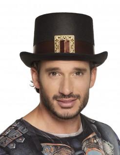 Kostüm-Zylinder für Herren mit Schnalle schwarz-braun-gold