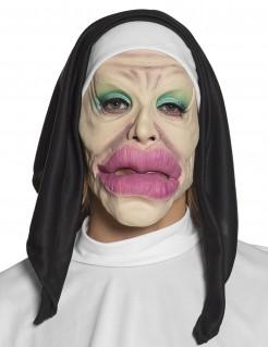 Witzige Nonnenmaske beige-schwarz-weiß