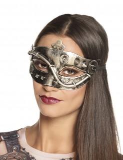 Steampunk Augenmaske für Damen gold-silberfarben