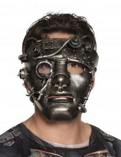 Steampunk-Maske mit Zahnrädern Halloween-Accessoire grau