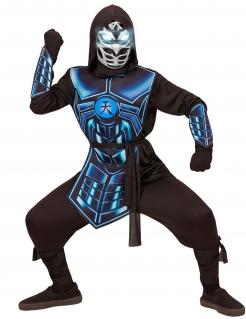 Ninja-Kostüm für Kinder mit Leuchtmaske und Sound Kinderkostüm schwarz-blau