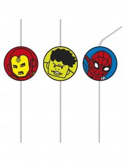 Avengers™-Strohhalme Pop-Comic 6 Stück bunt