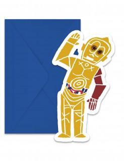 Star Wars Forces™ Einladungskarten und Umschläge 6 Stück blau-gelb-rot