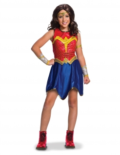 Wonder Woman™-Mädchenkostüm Justice League™ rot-blau-gold