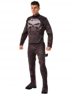 Punisher™-Kostüm für Herren Marvel™ Halloweenkostüm schwarz-grau