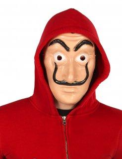 Bankräubermaske mit schwarzem Schnurrbart beige-schwarz