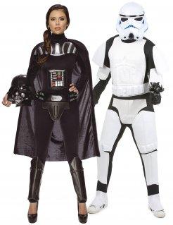 Star Wars™-Paarkostüm Darth Vader-Damenkostüm und Stormtrooper schwarz-weiss