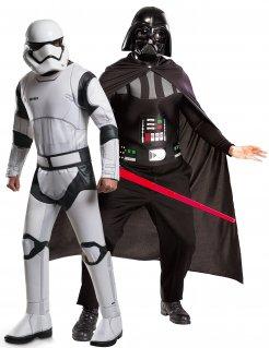 Star Wars™-Paarkostüm Darth Vader und Stormtrooper Lizenzartikel schwarz-weiss