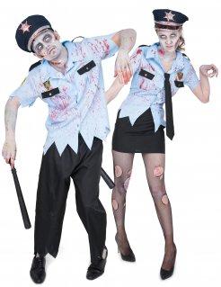 Gruseliges Zombiepolizisten Halloween-Paarkostüm für Erwachsene blau-schwarz