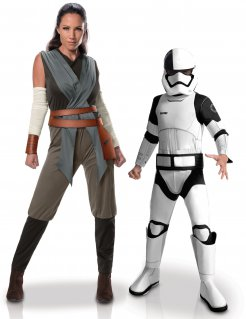 Star Wars™-Paarkostüm Rey-Kostüm und Stormtrooper-Kinderkostüm grau-weiss-schwarz