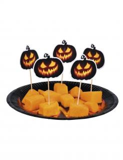 Kürbis-Spießchen Halloween Tischdeko 12 Stück schwarz-orange