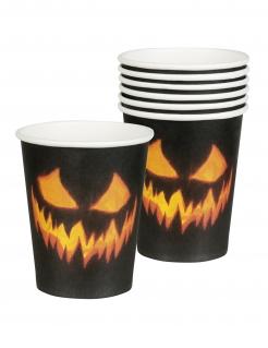 Pappbecher mit Kürbismotiv für Halloween 6 Stück schwarz-orange 250 ml