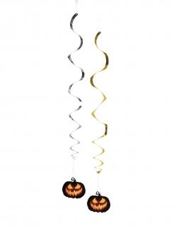 Kürbis-Girlanden für Halloween-Dekoration 2 Stück bunt 85 cm