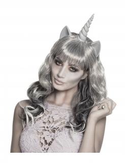 Einhorn-Geisterperücke für Halloween grau