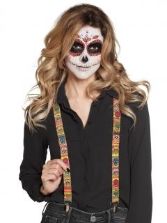 Totenschädel-Hosenträger Día de los Muertos Halloween-Accessoire bunt