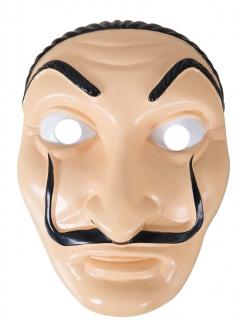 Bankräuber-Maske mit Schnurrbart beige-schwarz
