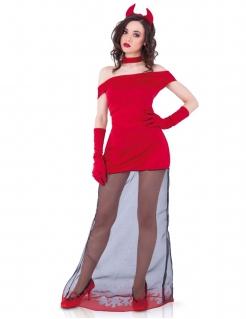 Elegantes Teufelsdamen-Kostüm mit transparentem Rockteil rot-schwarz