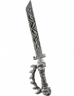 Piratensäbel mit Totenkopf silber 79cm