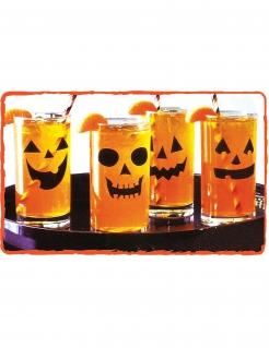 Kürbis-Aufkleber für Halloween 12 Stück schwarz