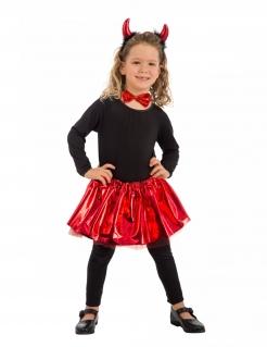 Diabolisches Kostümset für Mädchen schwarz-rot