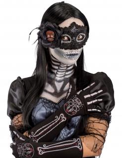 Sugar Skull-Handschuhe für Damen Dia de los Muertos schwarz-weiss-rot
