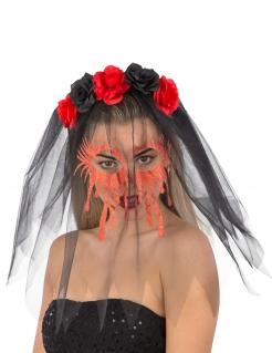 Haarreif mit blutigem Schleier schwarz-rot