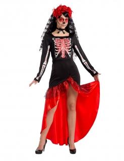 Flamencotänzerin Dia de los Muertos schwarz-weiss-rot