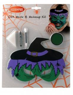 Hexen-Make-up-Set 5-teilig grün-lila-schwarz