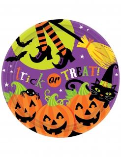 Schaurige Pappteller Halloween 8 Stück bunt 23cm