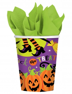 Happy Halloween Trick or Treat Pappbecher 8 Stück bunt 266 ml