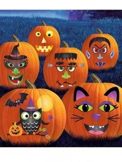 Halloween Kürbis-Sticker 65 Stück bunt