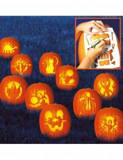 Halloween-Schablonen-Set 10 Stück weiss 27x19cm