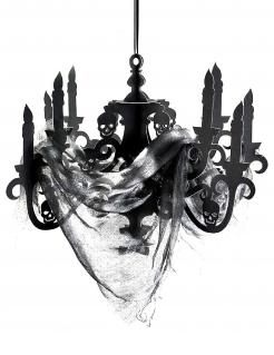 Gruseliger Kronleuchter aus Pappkarton Deko schwarz 41x58cm