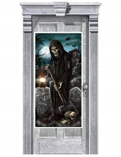 Türdekoration Halloween Totengräber Accessoire schwarz-blau 165x85cm