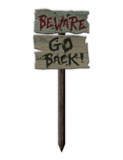 "Halloween-Tafel ""Beware Go Back!"" braun-schwarz-rot 54 x 20 cm"