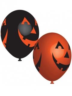 Kürbis-Latexballons für Happy Halloween 6 Stück schwarz-orange 27 cm