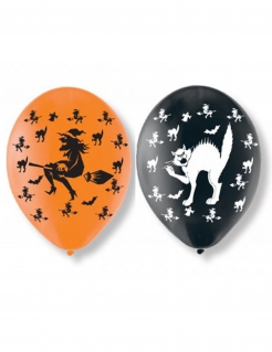 Ballon-Set Halloween 6 Stück orange-schwarz 27,5cm