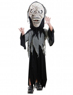 Sensenmann-Kinder-Kostüm für Halloween schwarz-weiss-grau